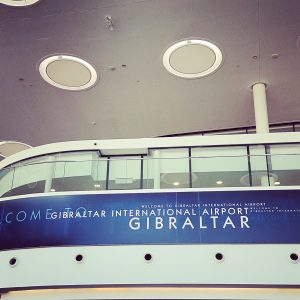 Welcome sign at Gibraltar airport.