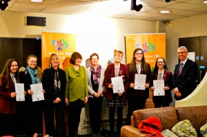 Students at the exhibition launch with Prof Mary Barker, Dr Annabel Foot and Prof Hazel Inskip