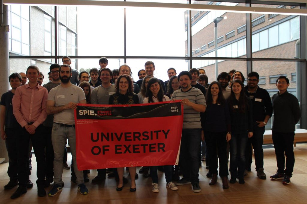 Networking with students from the University of Exeter's Optics and Photonics Society, comprised of an SPIE student chapter.