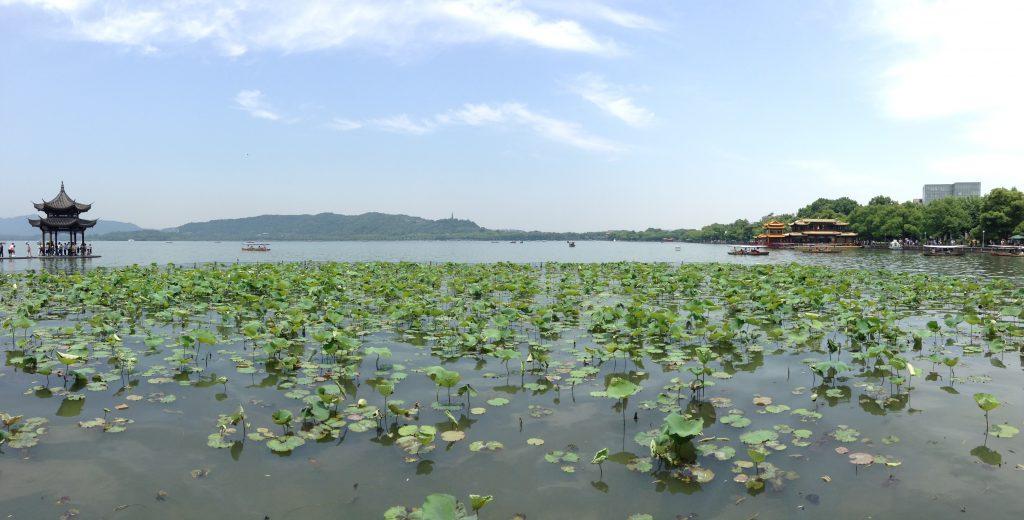 West Lake Panorama, Hangzhou, Zhejiang Province, China.