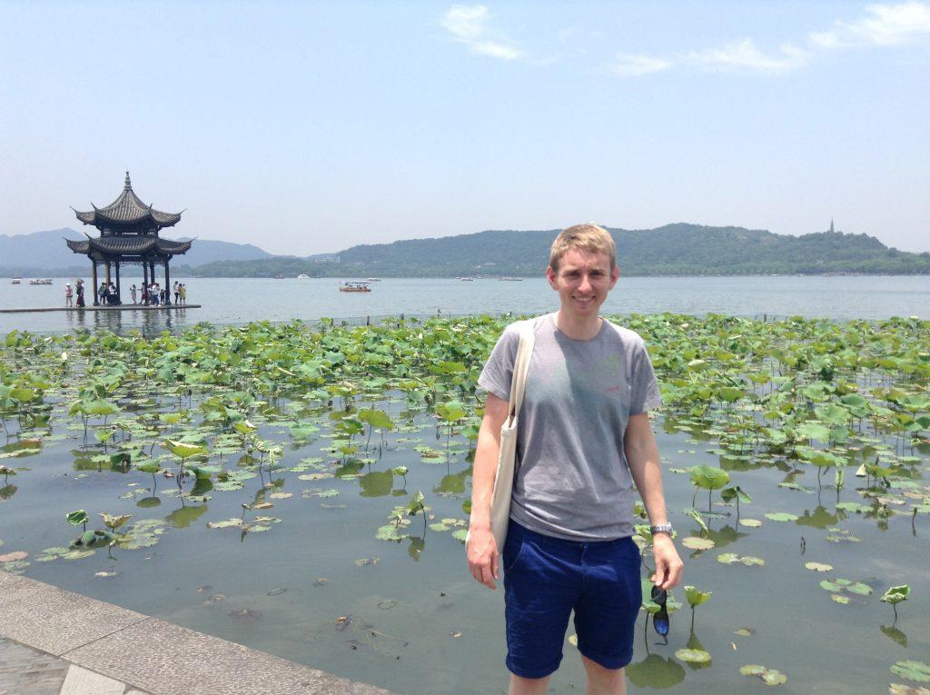 British tourist in Hangzhou, West Lake, China.