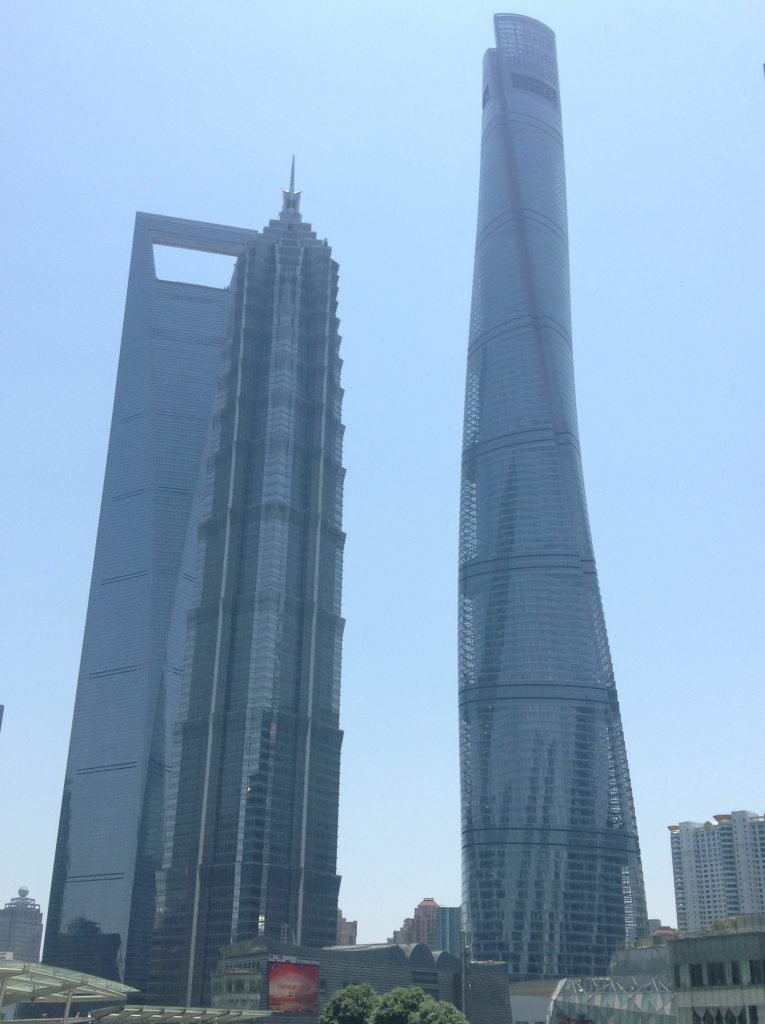 The Shanghai Big Three: World Financial Tower, Jinmao Tower, Gensler Tower (left to right)