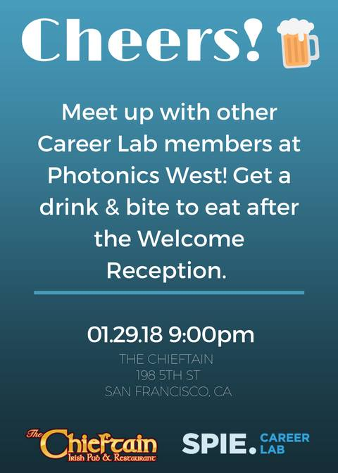 Join me, moderators and members of the SPIE Career Lab on Monday night!