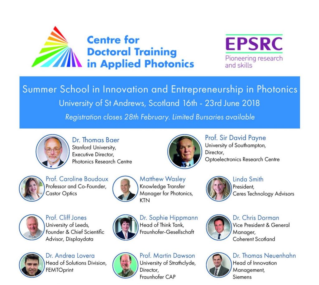 Invited speakers at the 2018 Summer School in Innovation and Entrepreneurship in Photonics.