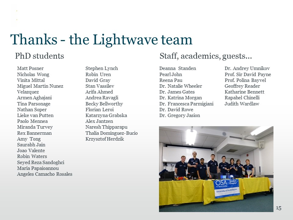 Thanks to the Lightwave team