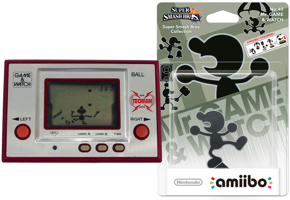 Nintendo Game and Watch with Game and Watch man themed Amiibo