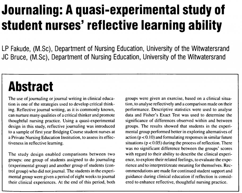 A quasi-experimental study of student nurses' reflective learning ability