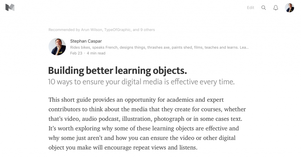 Building better learning objects on Medium