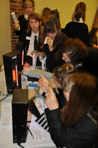 Year 9 girls investigate the visible light section of the electromagnetic spectrum during a Dragonfly Day workshop.
